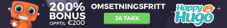 Anbefalt Casino - HappyHugo Norge! Omsetningsfri Casino Bonus!