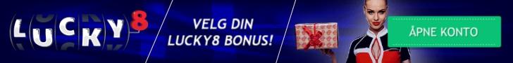 Du velger din velkomstbonus hos Lucky8! Velg blant 2 bonuser! Åpne konto og få 8 gratis spins på Aloha!