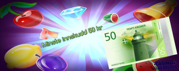 bilde av 50 kr som skal illustrere minste innskudd 50 kr på casino